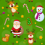 Green Christmas Seamless Pattern. A seamless pattern with Santa Claus, a snowman, reindeer and Christmas cookies, on green background. Useful also as design vector illustration