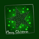 Green christmas star postcard illustration Stock Photos