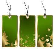 Green Christmas tags Royalty Free Stock Photos