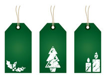 Green christmas tags Stock Photos