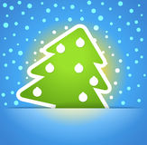 Green christmas tree. With baubles. Christmas greeting card Royalty Free Stock Photo