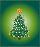 Green christmas tree. Isolated xmas tree on green background. Vector illustration Royalty Free Stock Images