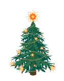 GREEN CHRISTMAS TREE. LONELY GREEN CHRISTMAS TREE on white background. Vector illustration Royalty Free Stock Images