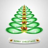 Green Christmas tree. Abstract modern 3d lightened Christmas tree for creative graphic design. Modern 3D illustration. royalty free illustration