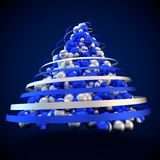 Green christmas tree abstract modern 3d rendering blue background Stock Photo