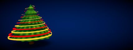 Green christmas tree abstract modern 3d rendering blue background Stock Image