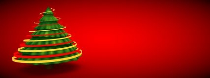 Green christmas tree abstract modern 3d rendering red background Royalty Free Stock Image
