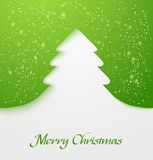 Green christmas tree applique. Green abstract christmas tree applique with snow particles. Vector illustration Royalty Free Stock Images