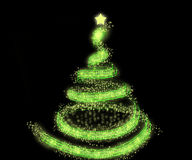 Green christmas tree background. Green sparkling christmas tree background Stock Photo