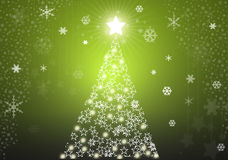 Green christmas tree background. With stars Stock Image