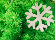 Green christmas tree background with snowflake Royalty Free Stock Image