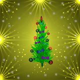 Green Christmas tree in balls and bows. golden background Vector Illustration. Green Christmas tree in balls and bows. golden background. Vector Illustration Royalty Free Stock Photos
