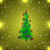 Green Christmas tree in balls and bows. golden background Vector Illustration. Green Christmas tree in balls and bows. golden background. Vector Illustration Stock Images
