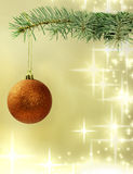 Green christmas tree with baubles Stock Photo