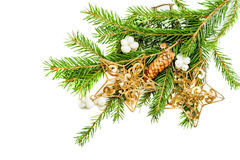 Green christmas tree branch with decorations Royalty Free Stock Photo