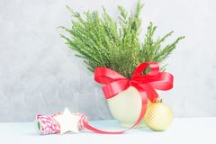 Green christmas tree branches with red bow in pot with wrapping tape and gold star against concrete grey wall. New year concept. Text space stock image