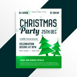 Green christmas tree with christmas party celebration details. Vector royalty free illustration