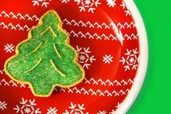 Green christmas tree cookie stock photos