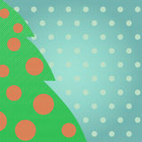 Green christmas tree. The cute background with christmas tree in vintage style Stock Photography