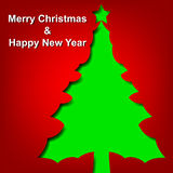 Green Christmas tree cutt from paper Royalty Free Stock Photo