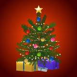 Christmas tree and gift on red background. Green Christmas Tree Decorated with Baubles Stars and Gift Boxes Over Festive Red Background Stock Photography
