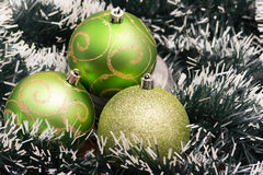 Green Christmas-tree decorations. Selective focus. Stock Image