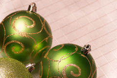 Green Christmas-tree decorations. Selective focus. Royalty Free Stock Photo