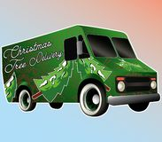 Green christmas tree delivery Van vector royalty free illustration