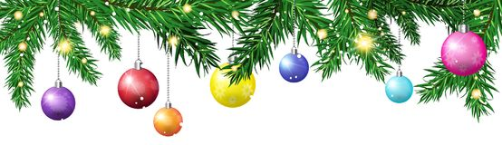 Green Christmas Tree Fir Branches Decorated With Colorful Balls  On White Background Horizontal Banner. Vector Illustration Stock Photography