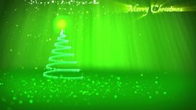 Green Christmas tree from glow shiny particles on the left in wide angle shoot. Winter theme for Xmas background with. Christmas tree from glow shiny particles stock video