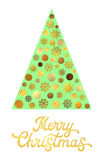 Green Christmas tree with gold glitter lettering. Royalty Free Stock Photography