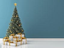 Green Christmas Tree with Golden Gifts Stock Photo