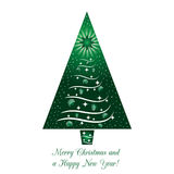 Green Christmas Tree Greeting Card Royalty Free Stock Photos