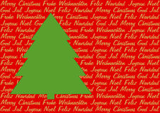 Green Christmas tree on greetings in five languages Stock Images