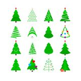 Green Christmas Tree Icon Set. Stylized Vector Fir-trees. Of Different Shapes Isolated on White Royalty Free Stock Photos