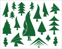 Green Christmas tree icons Stock Photos