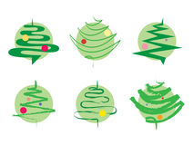 Green Christmas tree icons Stock Images