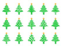 Green Christmas tree icons set. Isolated green Christmas tree icons set from white background Royalty Free Stock Images