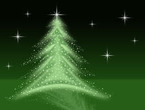 Green christmas tree illustration with stars sparkles reflection and night sky Stock Images