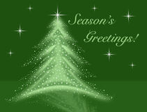 Green christmas tree illustration with stars sparkles reflection and night sky Stock Photography