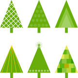 Green Christmas Tree Illustrations. Green Christmas trees, flora, nature, Christmas decorations, white snowflakes, green and yellow Christmas tree illustrations Stock Photo
