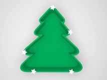 Green christmas tree, isolated white background Royalty Free Stock Images