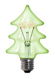 Green christmas tree light bulb Stock Photos