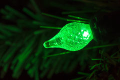 Green Christmas Tree Light Bulb Royalty Free Stock Photography