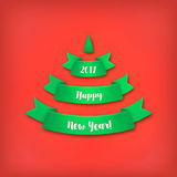 Green Christmas tree made of realistic ribbon with shadow on red background. Colorful vector illustration Stock Photo