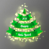 Green Christmas tree made of realistic ribbon with shadow on transparent background. Stock Images