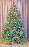 Green Christmas tree with many vibrant colored ornaments, colored lights, decorated, close up, indoor, Christmas spirit Stock Image