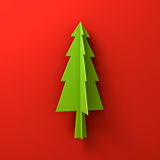 Green christmas tree on red background for christmas decoration with shadow Stock Photo