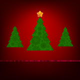 Green christmas tree on red background. EPS 8 Royalty Free Stock Images
