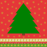 Green Christmas tree on red background with golden stars. And on the bottom a colorful border with stars, dots and snowflakes Royalty Free Stock Photography